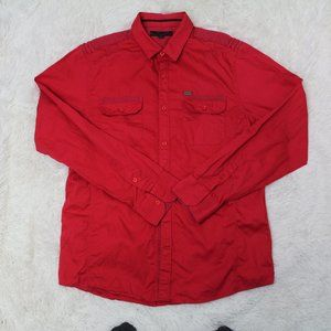 G by Guess Red long sleeved shirt sz L
